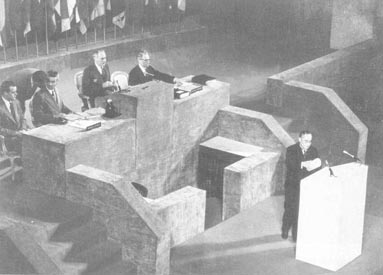 Prime Minister Yoshida Shigeru giving a speech on -Reconciliation and Peace- at the San Francisco Peace conference in 1951.