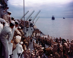USS Missouri at the end of the surrender ceremony
